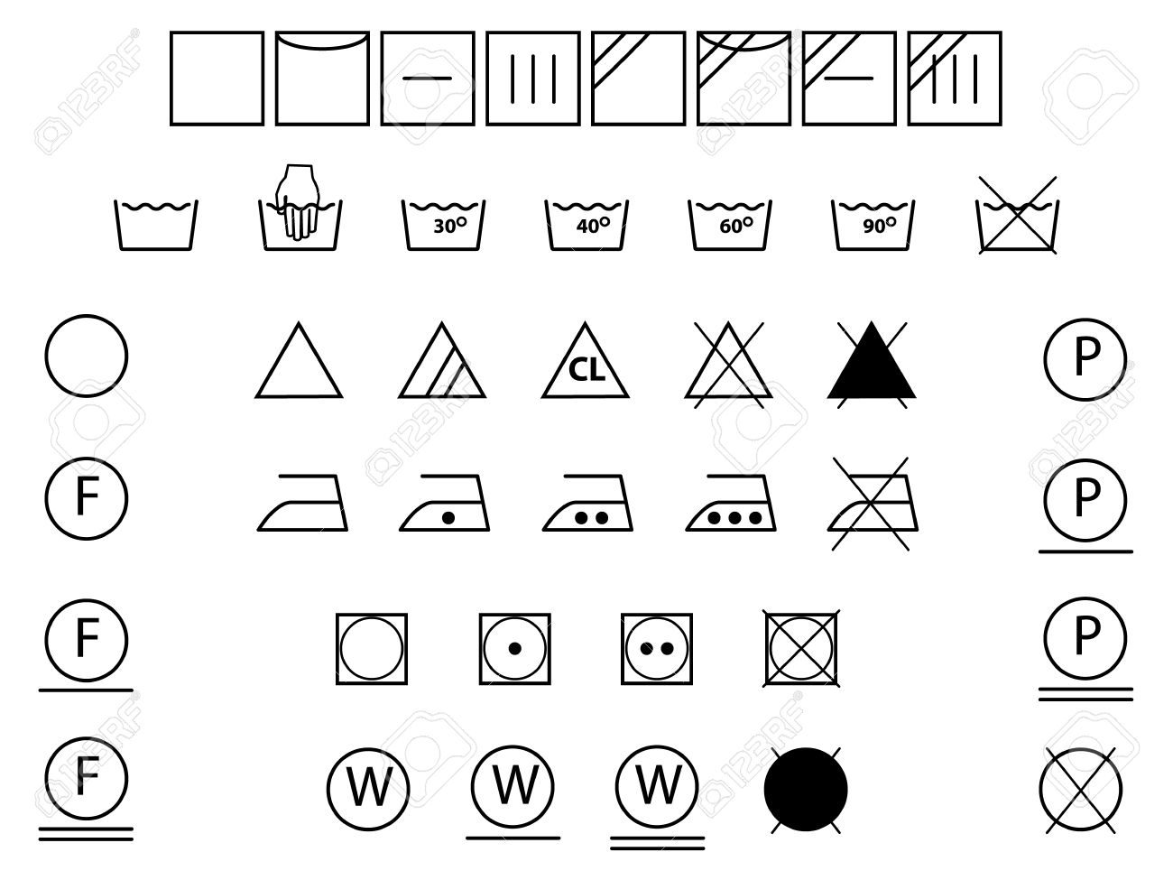 Laundry symbols for washingdryingbleachingironing royalty free laundry symbols for washingdryingbleachingironing stock vector 28994454 biocorpaavc Image collections