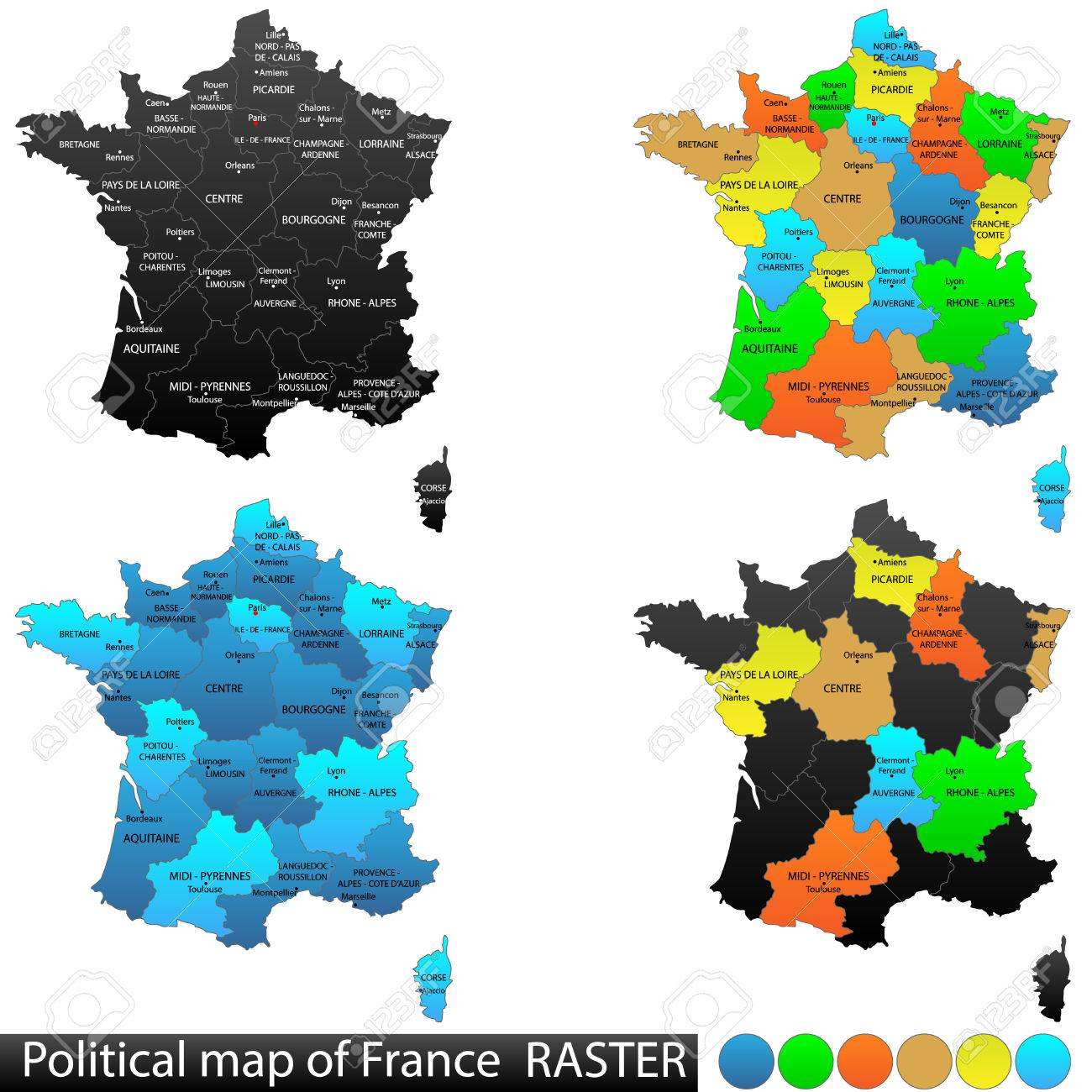 Political And Location Map Of France Versatile File, Every Piece ...