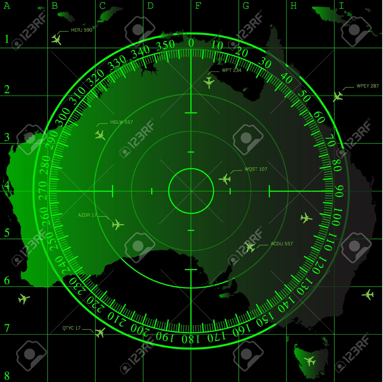 Map Of Australia Radar.Green Radar Screen Over Square Grid Lines And Map Of Australia