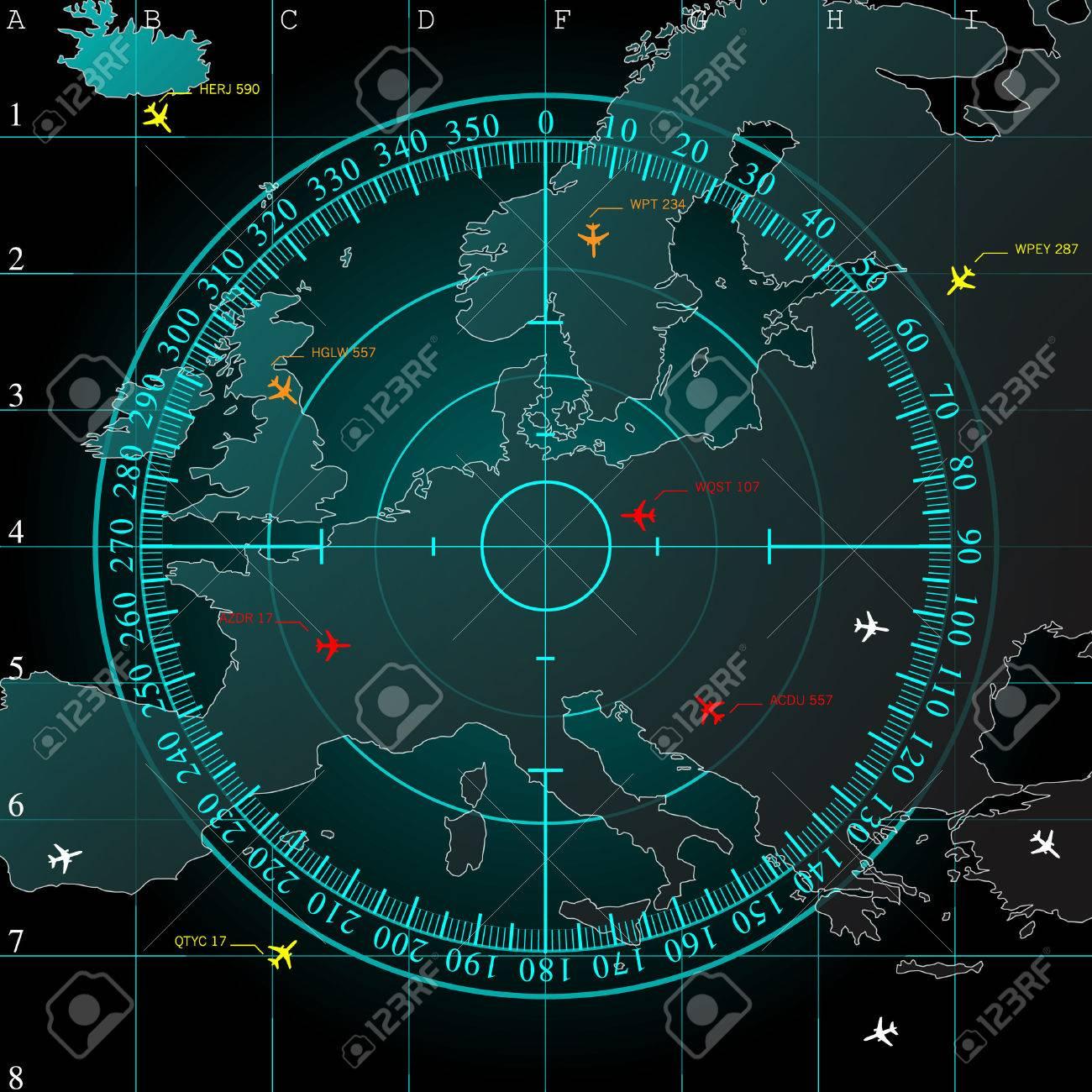 Pantalla De Radar Azul Sobre Las Lineas De Cuadricula Cuadrados Y