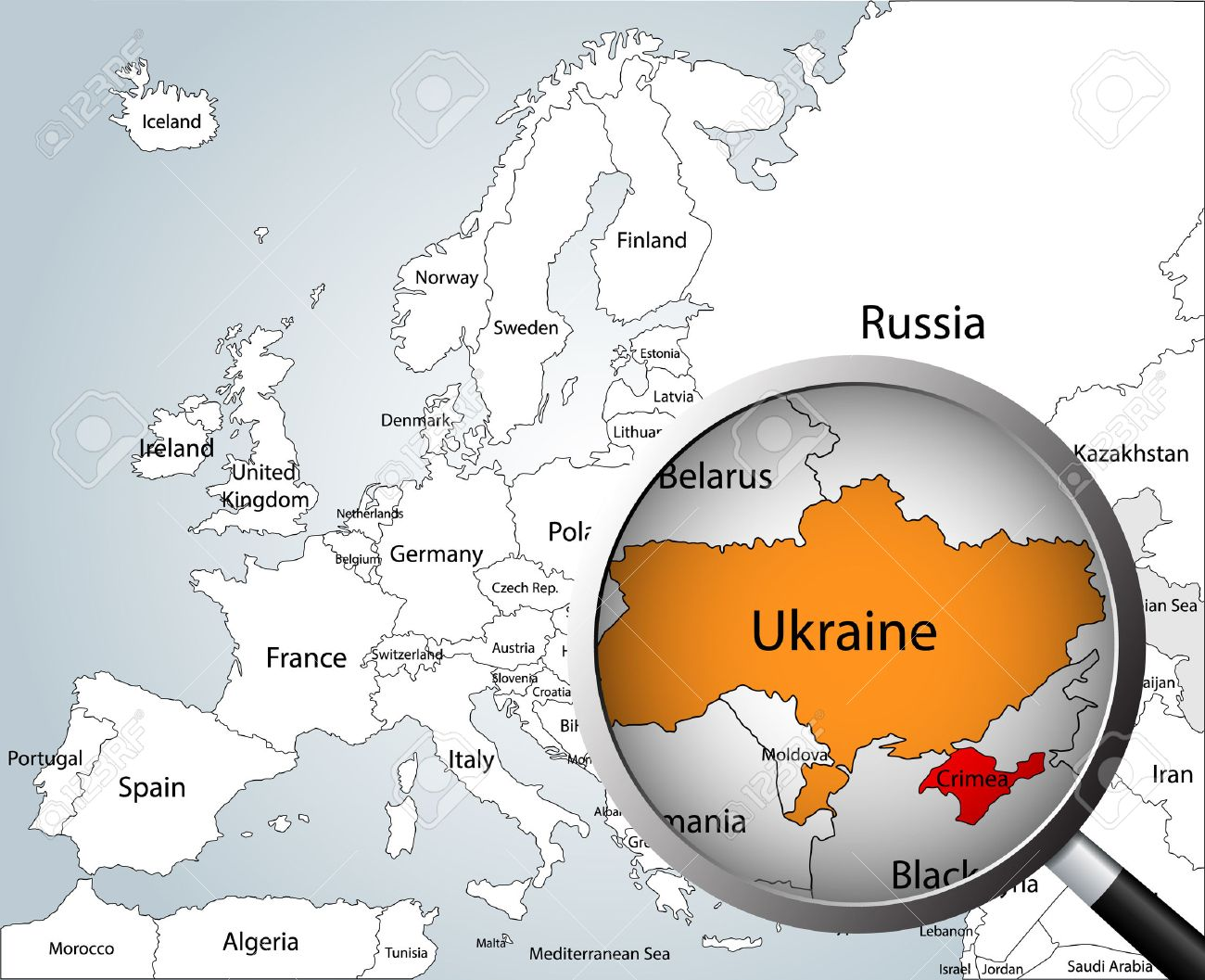 Crimean Peninsula Europe Map.Magnifying Glass Over Map Of Europe Part Of Asia And Africa
