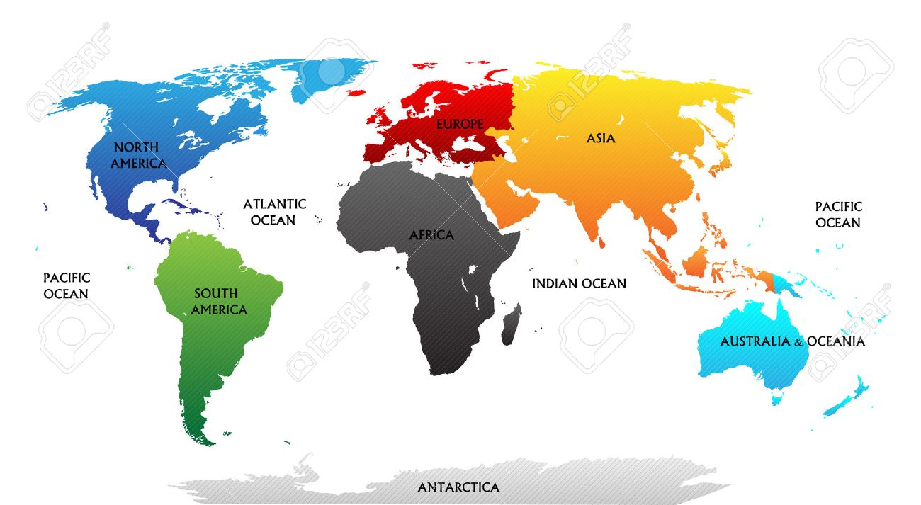 World Map With Highlighted Continents In Different Colors All