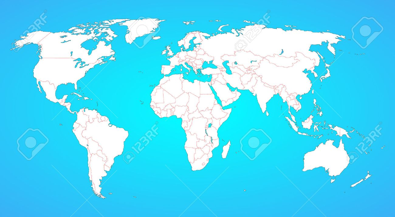 World Map With Borders Between All Countries White Shape Isolated - All the world map