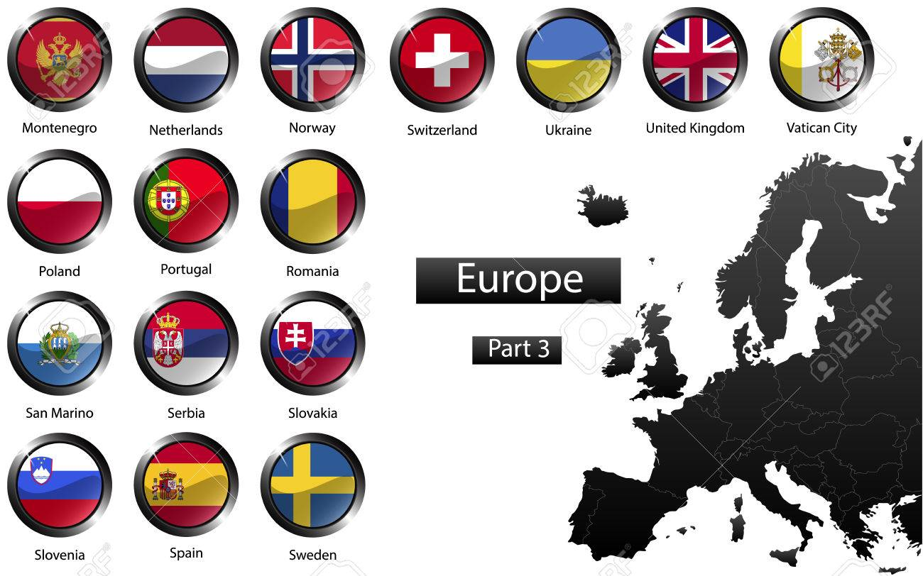 High detailed national flags of european countries clipped in high detailed national flags of european countries clipped in round shape glossy metal buttons biocorpaavc