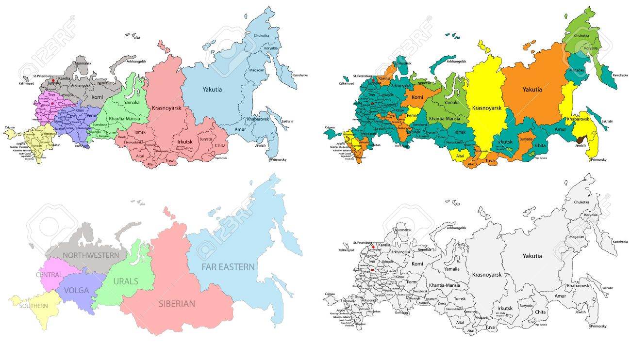 Political And Regional Map Of Russia Versatile File Every Piece - Political map of russia