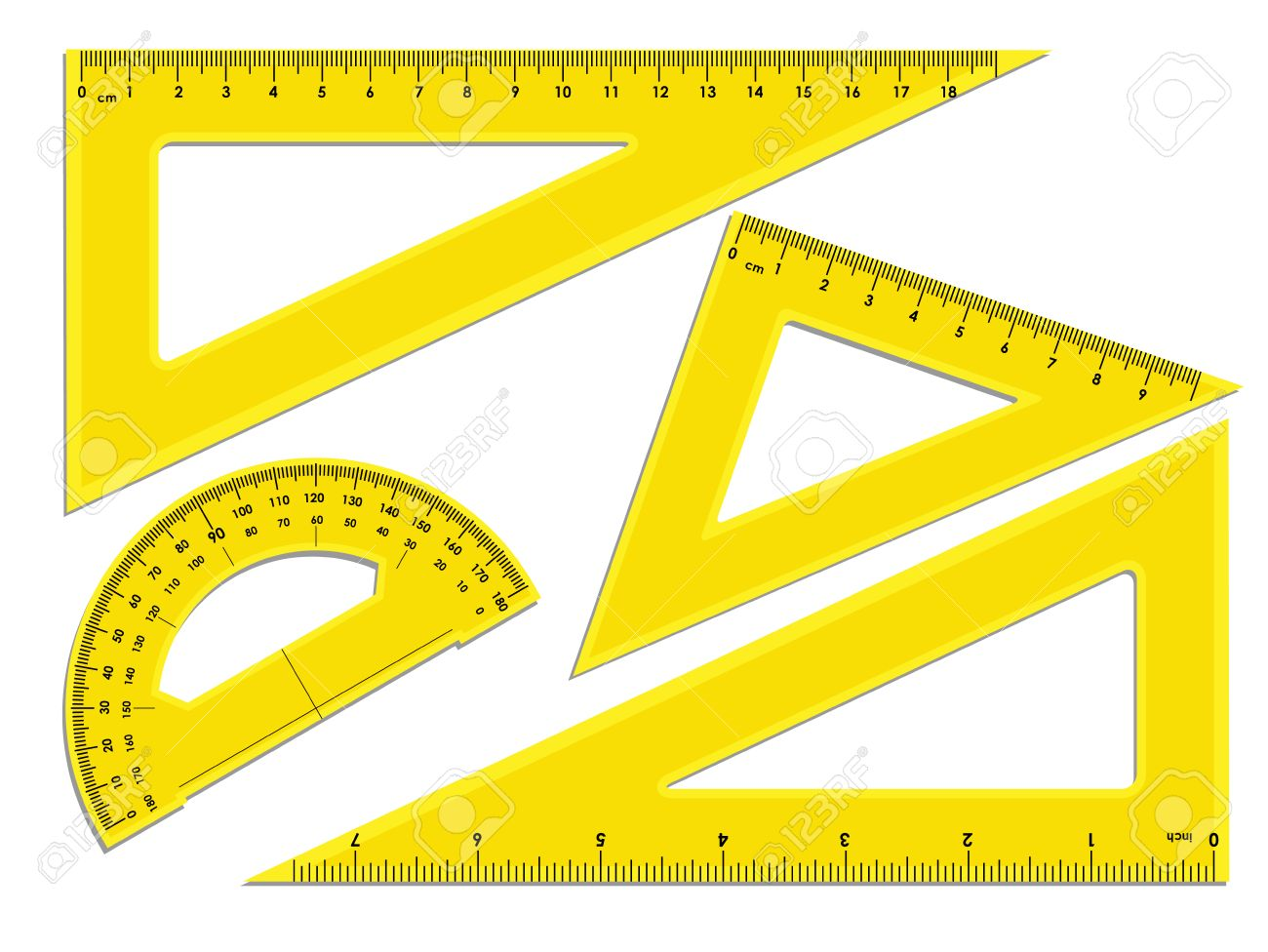 Triangle rulers and protractor rulers marked in centimeters triangle rulers and protractor rulers marked in centimeters and inches stock vector 58039747 buycottarizona Image collections