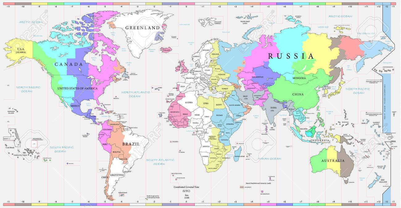 vector world time zones map and political map of the world every country and time zone is possible to select and edit individually versatile file