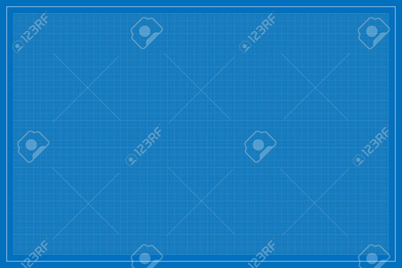 Rectangle (landscape oriented) shape blueprint template, with square subdivisions, vector illustration - 145017385