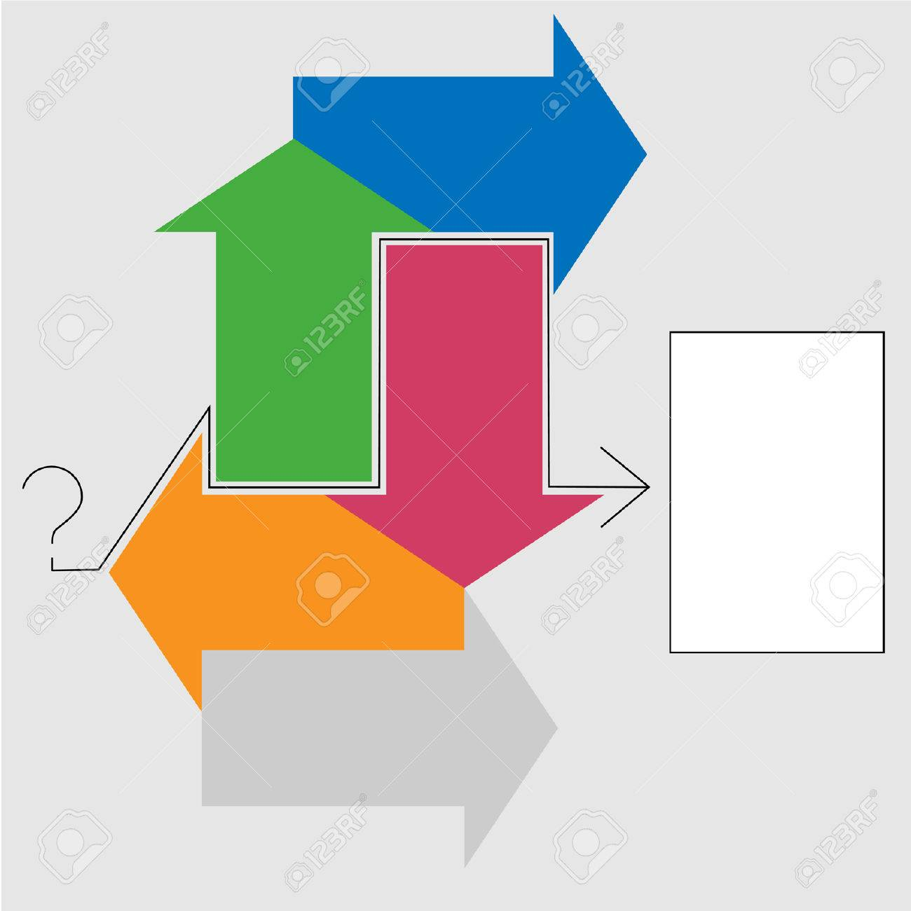Puzzled? Arrows point to a solution, an answer to a question. Stock Vector - 2046957
