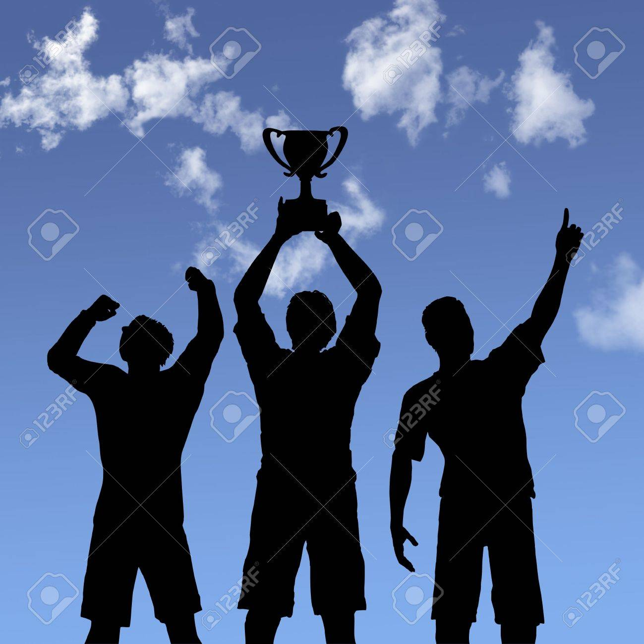 ILLUSTRATION: Silhouettes of team players win a trophy and celebrate business victory against a blue sky. Stock Illustration - 2186654