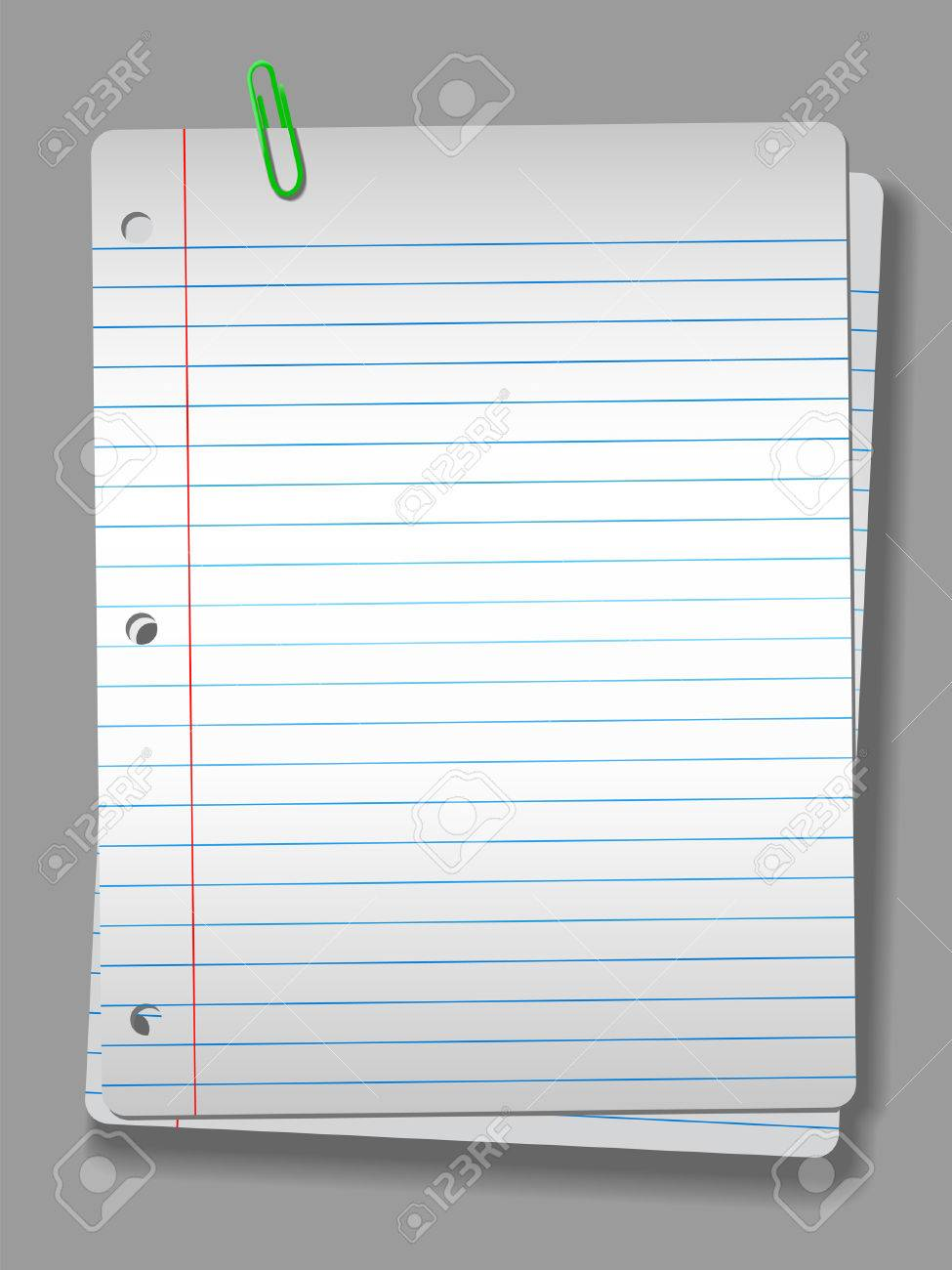 pages of wide ruled notebook paper on solid gray background