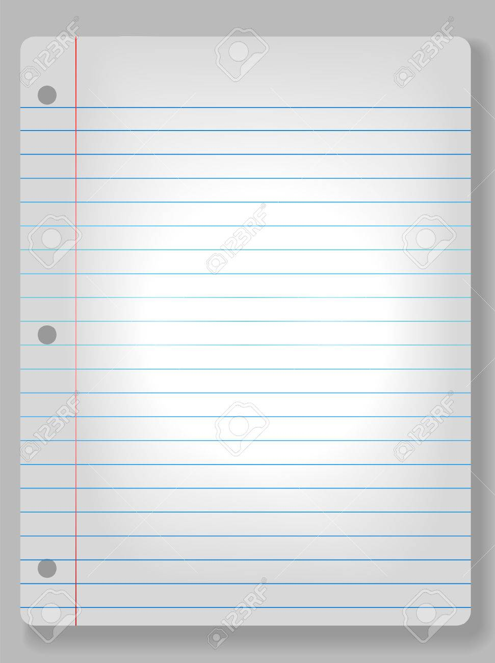 page of wide ruled notebook paper on solid gray background
