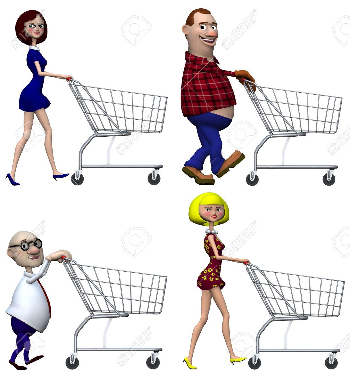 Happy smiling cartoon people Shoppers push Shopping Carts. Isolated on white. 3D illustration. Stock Illustration - 2438332