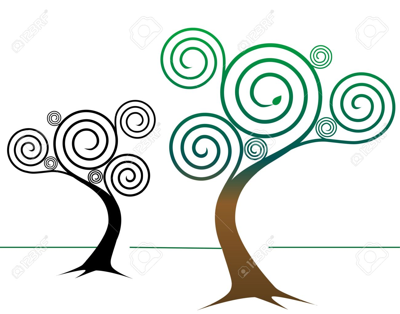 two spirally abstract tree designs one colorful springtime