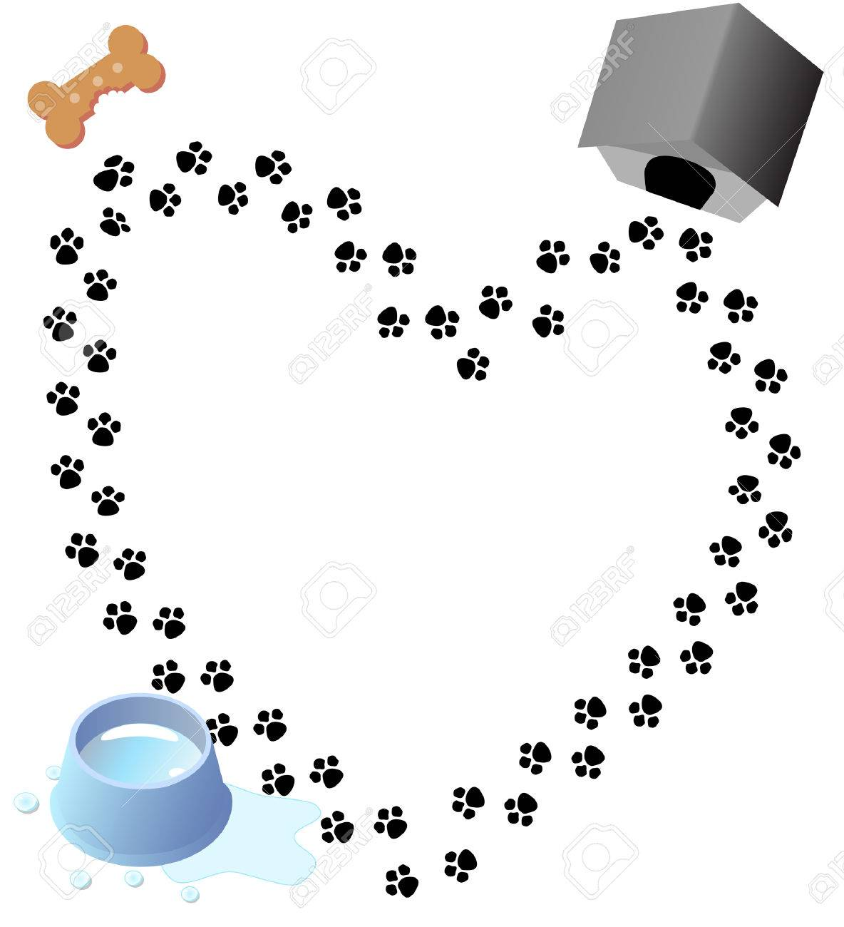 Puppy love heart shaped trail of paw prints through three doggy graphics. Stock Vector - 2520451