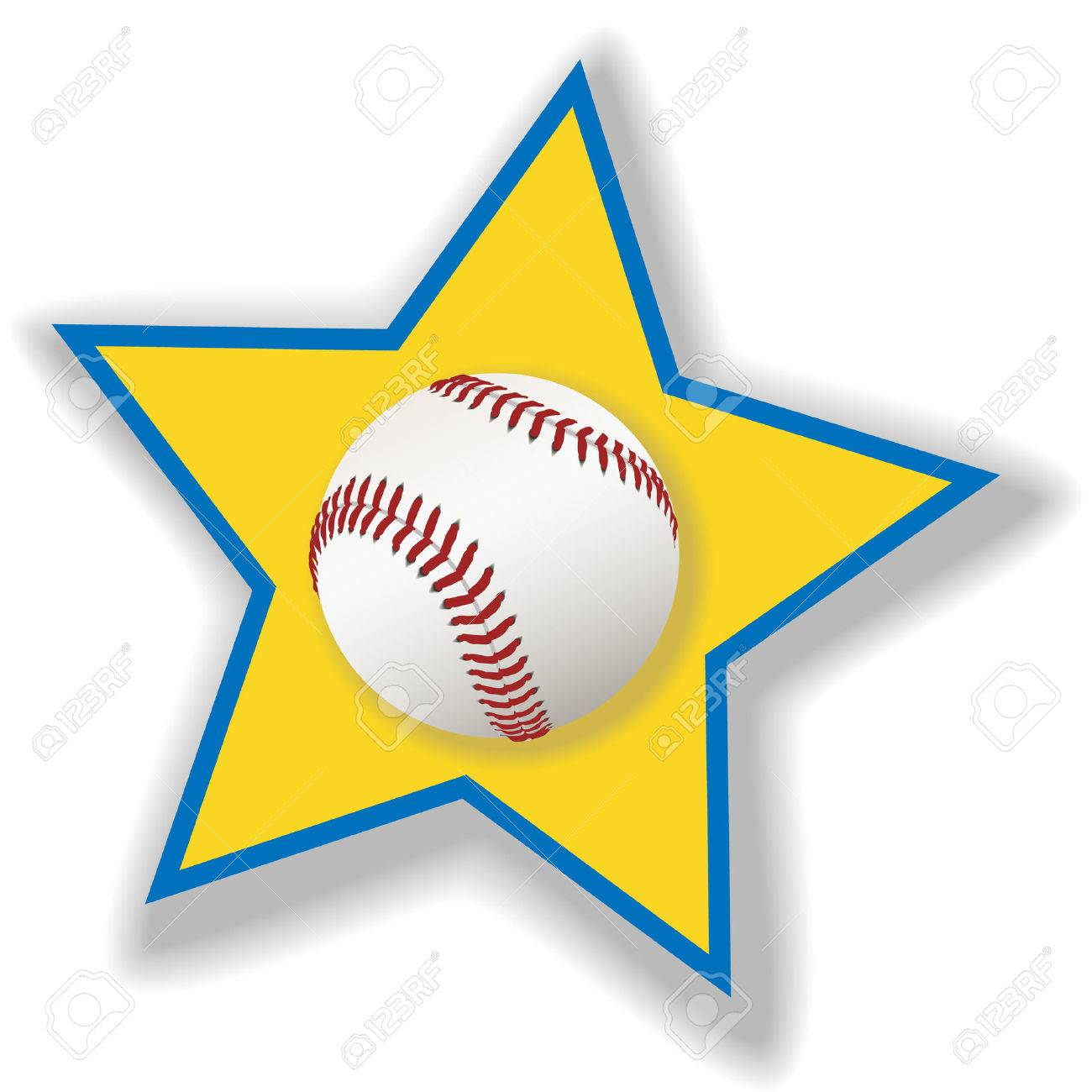 A clean, white baseball or softball on a star background for all star baseball. Sports illustration. Stock Vector - 2549089