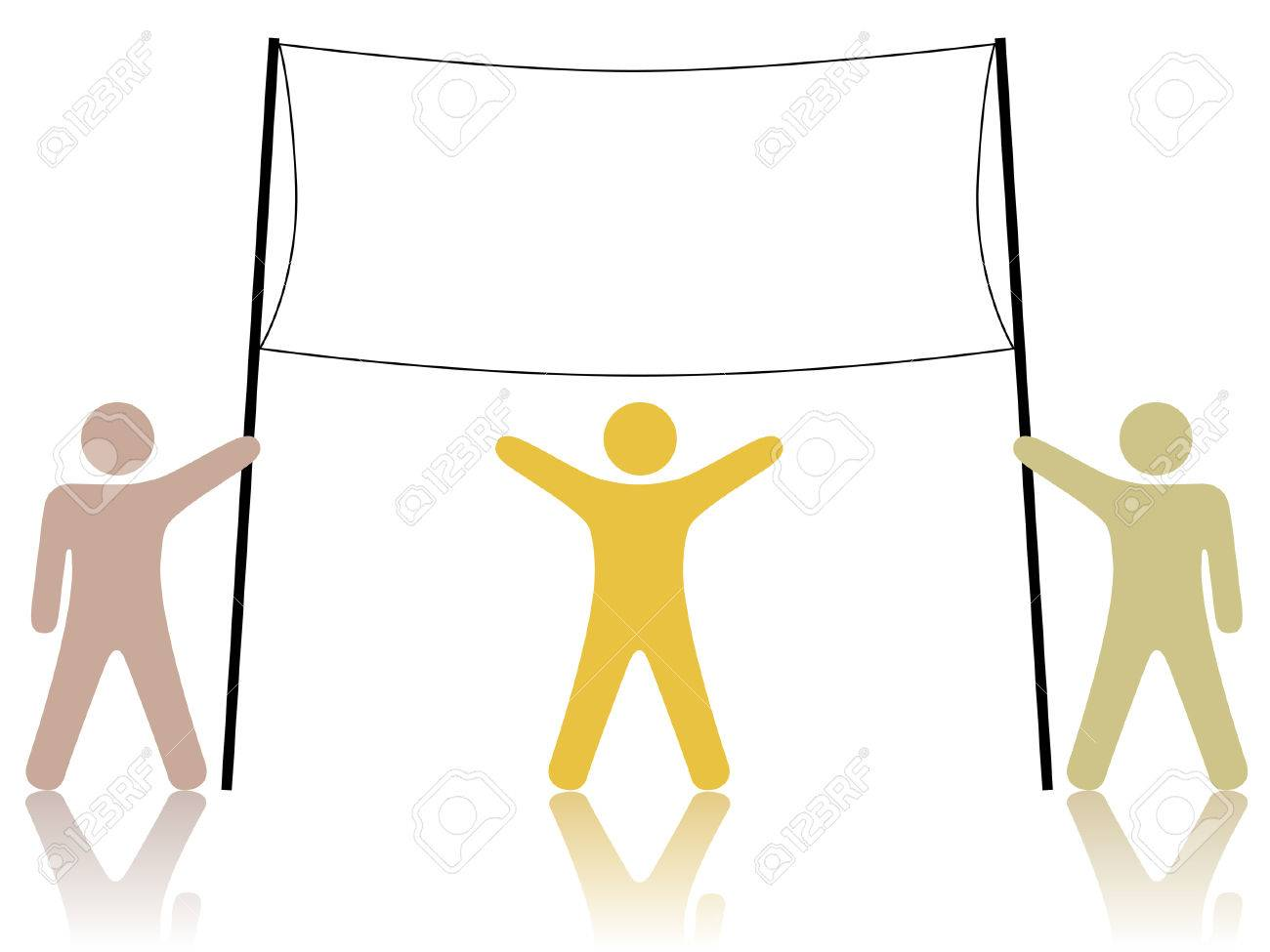 A team of three people hold up a sign, banner, or ad raised to celebrate cooperation, teamwork, winning, diversity Stock Vector - 2602034