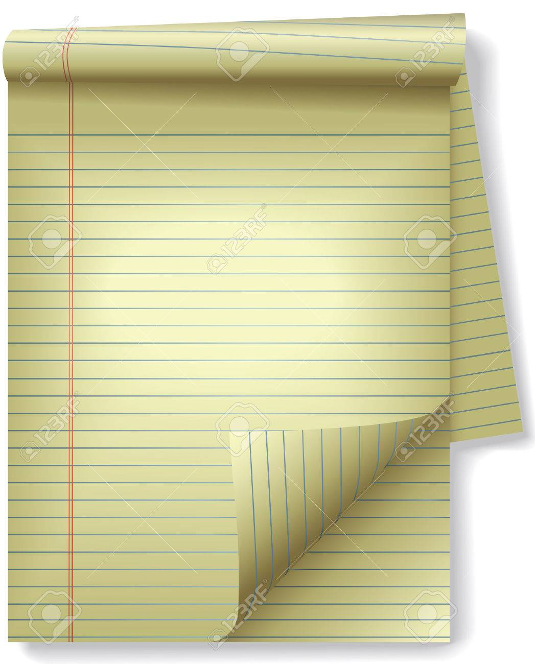 Pages of legal ruled notebook pad paper - page curl, drop shadow spotlight highlight. Easily tilt or otherwise edit it. Stock Vector - 2632009
