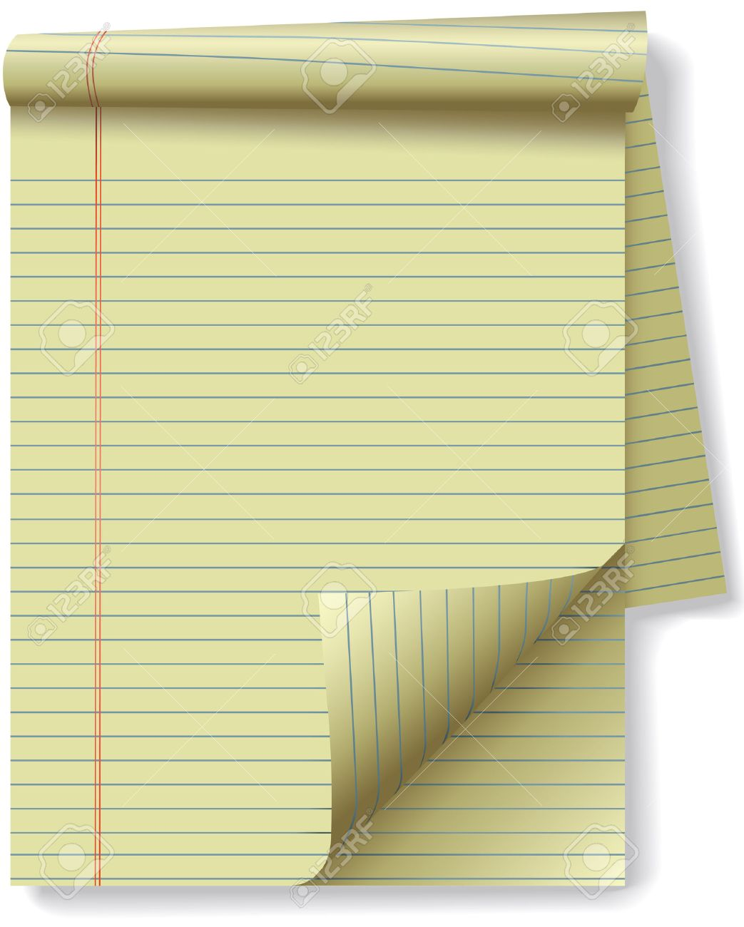 pages of yellow legal ruled notebook pad paper - page curl flip