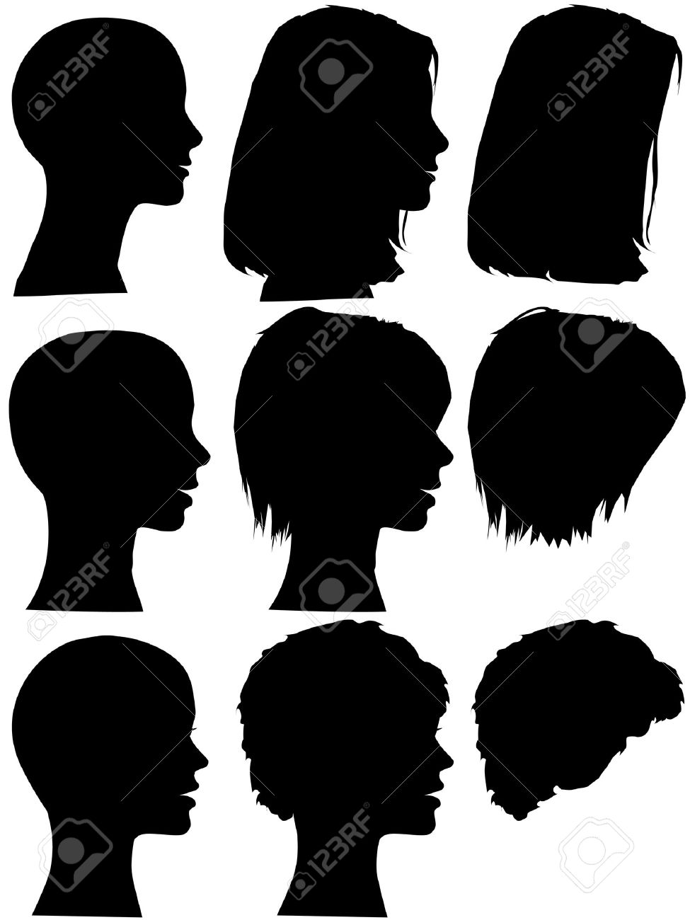 3 profile silhouettes of women & silhouettes of beauty salon hair styles. Long hair, short hair, curly hair. Mix & match the element, each is on its own layer. Stock Vector - 3002352