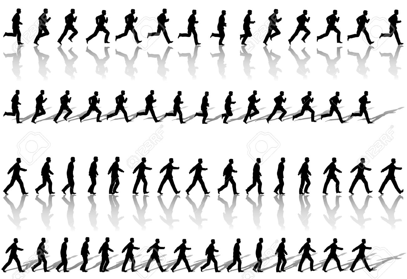A business man runs & power walks to success in animation' sequence frame loops, with reflection and shadow. Use cels as elements, sequences as borders. Stock Vector - 3022297