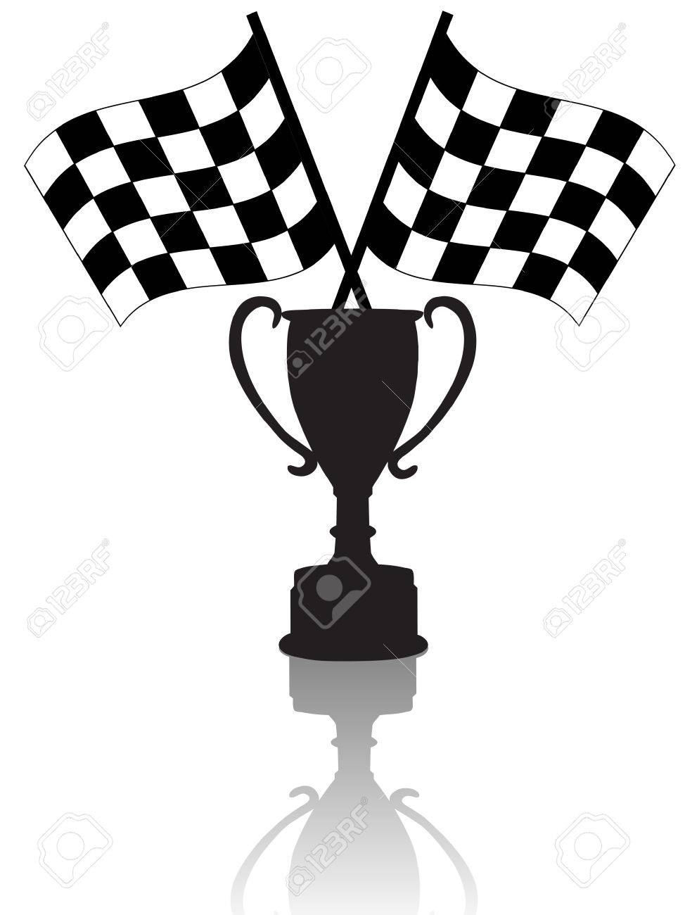 Silhouettes Of Crossed Checkered Flags & A Victory Trophy Cup ...