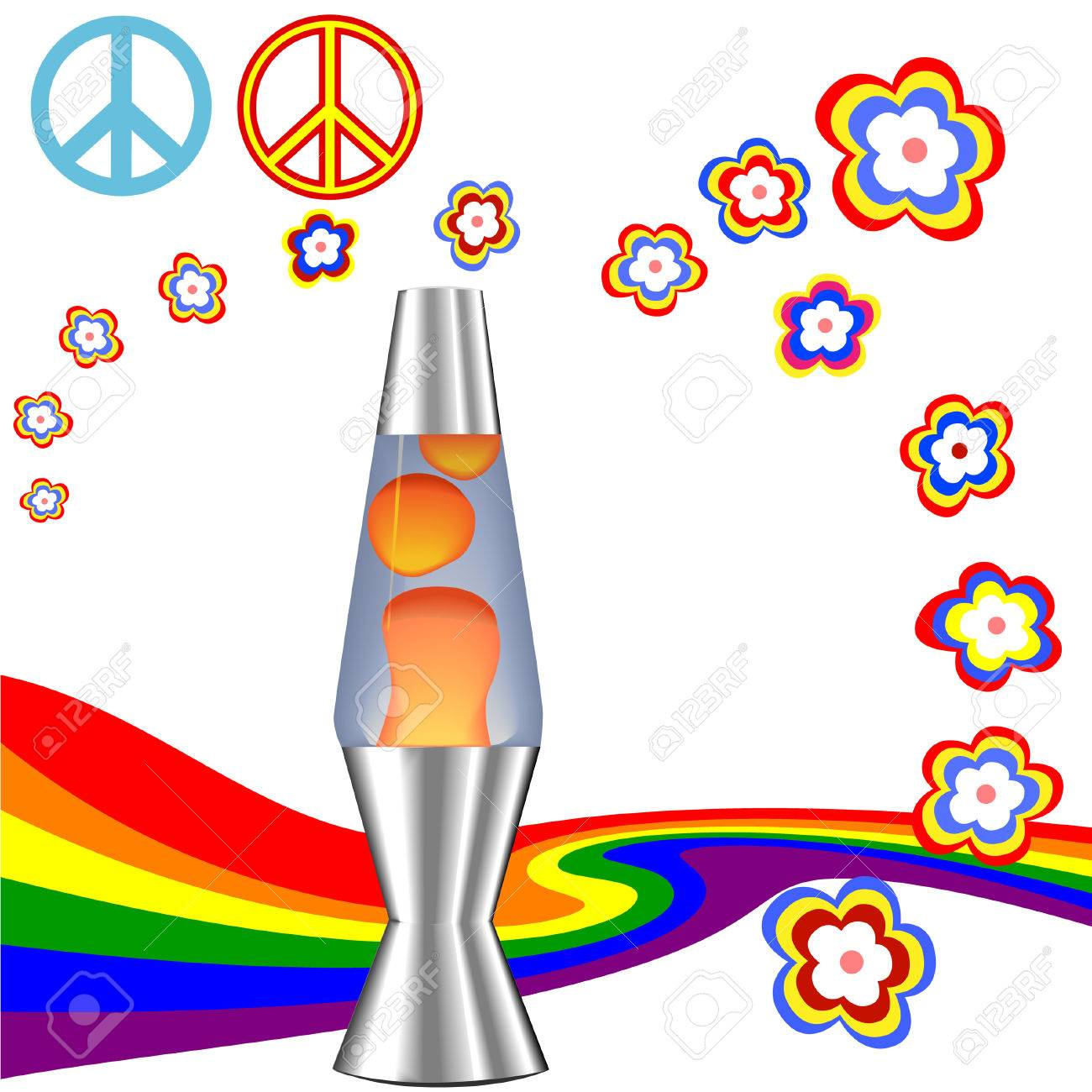 Lava lamp vector - A Psychedelic 60 S 70 S Hippie Kit With Red Orange Lava Lamp Retro Flower Power Rainbow