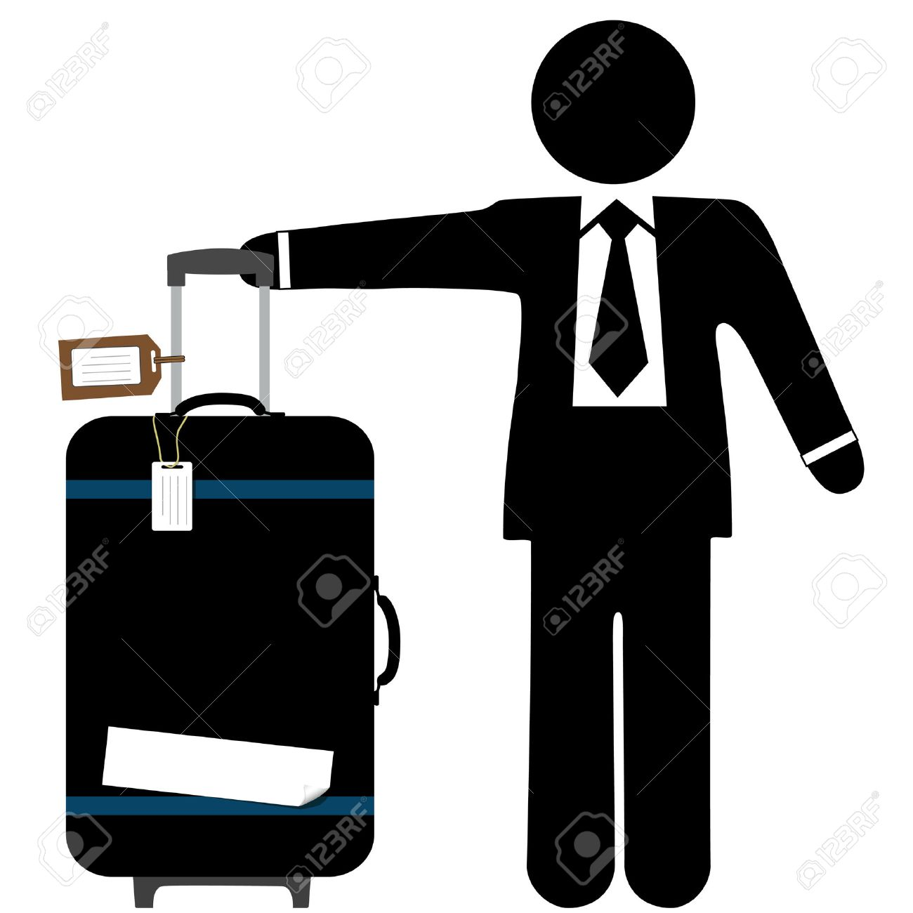 A business man traveler with a black suitcase, pull handle up, and copyspace on luggage tags and sticker tape. Stock Vector - 3410318