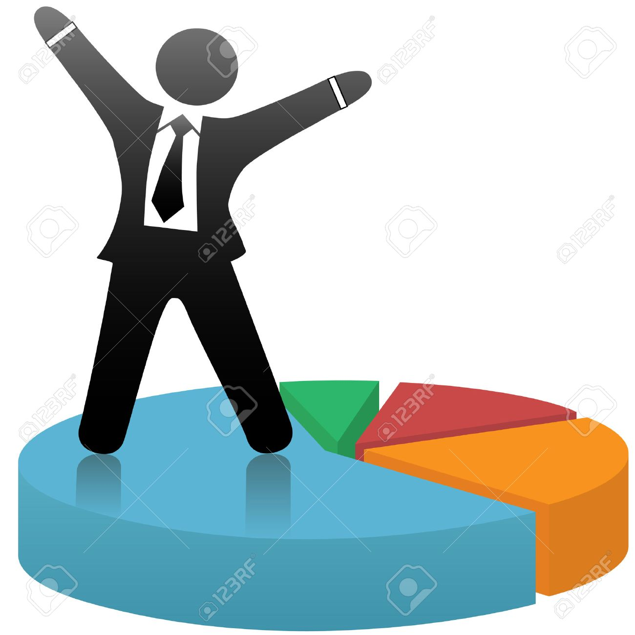 A symbol business man celebrates a financial market share success standing on a colorful pie chart. - 3410320