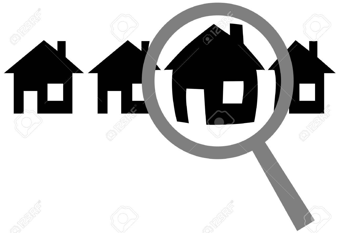 A magnifying glass finds, selects or inspects a home in a row of houses: search & choose website, or house for residence, real estate investment, inspection. Stock Vector - 3423544