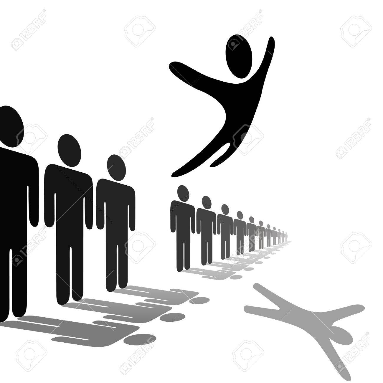 Ein Symbol Person Aus Der Menge Und Fliegt über Eine Linie Von ...