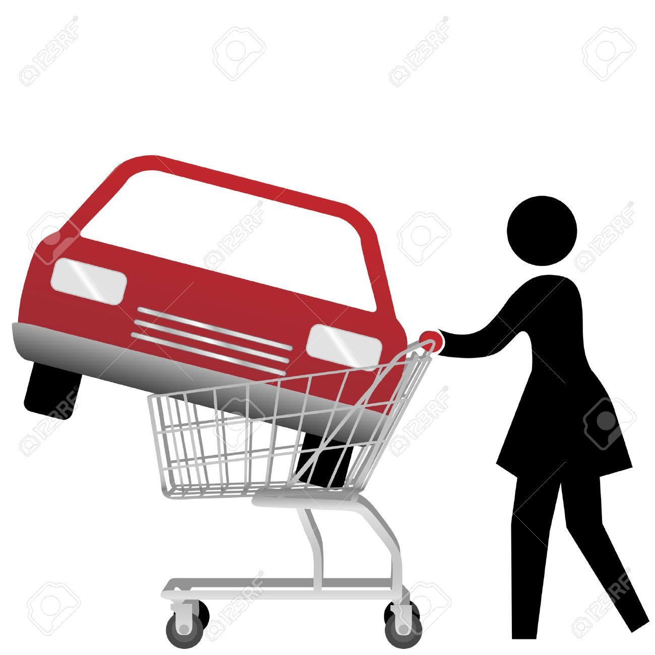 A woman car shopper buying a red auto inside a shopping cart. Stock Vector - 3546400