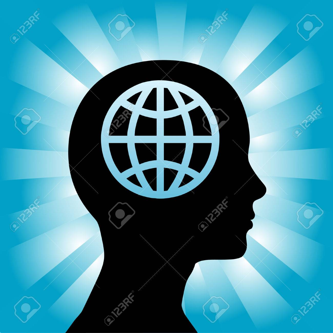 A globe in the head of a silhouette woman as she thinks globally. Stock Vector - 3604618