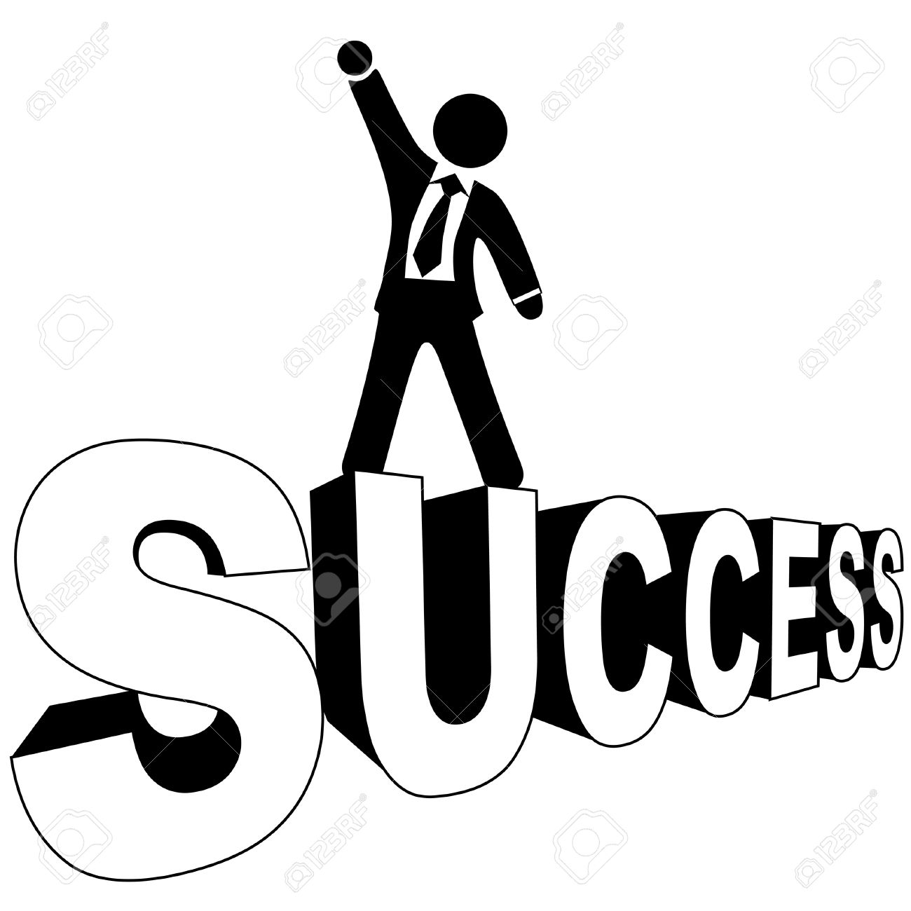 Successful business man in a suit and ties stands on his SUCCESS, in black and white.Large JPG included. Stock Vector - 3915813