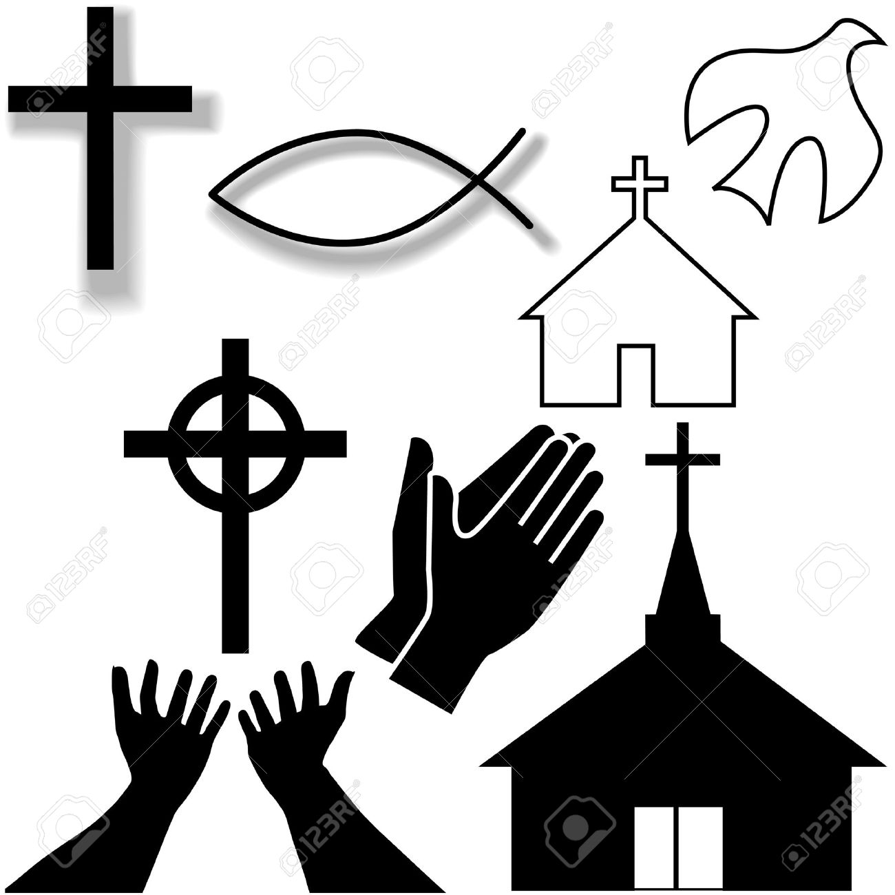 Churches Crosses Holy Spirit Dove Fish Symbol Hands Praying