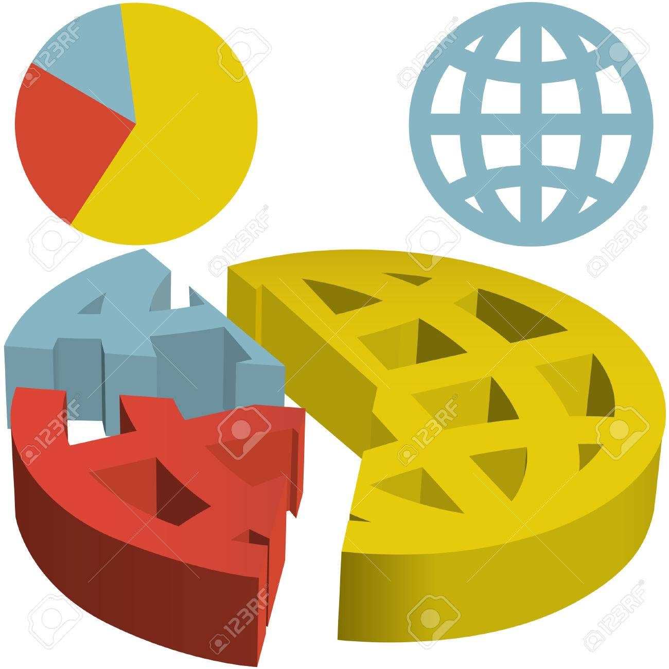 A financial pie chart of the globe with the world divided into a financial pie chart of the globe with the world divided into three parts indicating market nvjuhfo Gallery