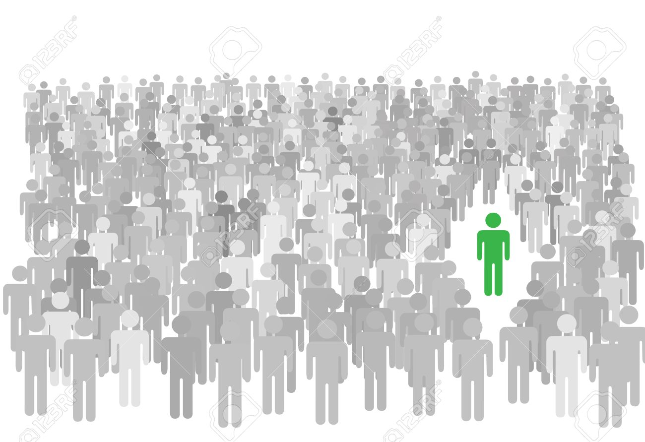 One colorful individual person stands out from large diverse crowd of gray symbol people. Stock Vector - 4332297