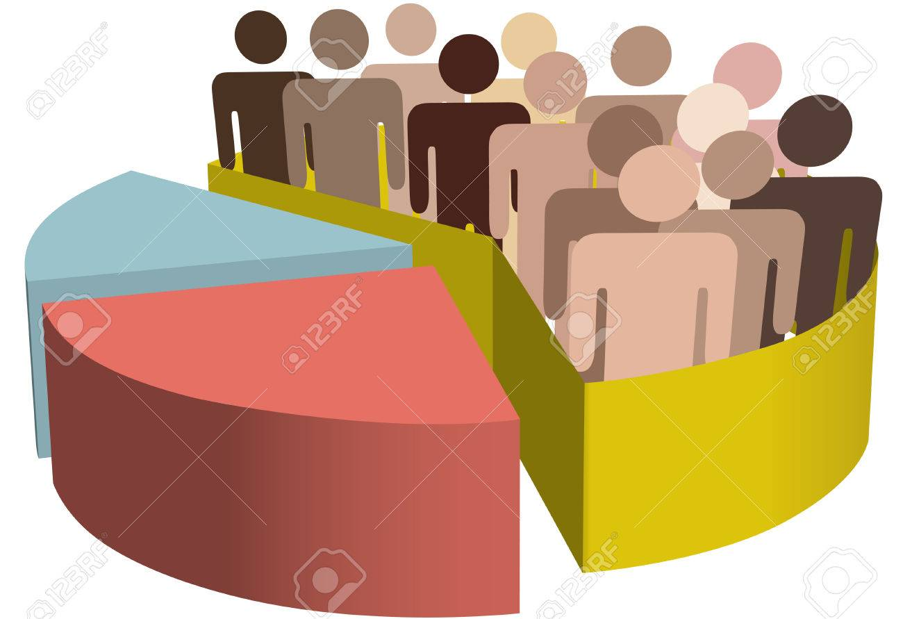 A chart with a diverse group of people as symbols of majority, population, team, market, customers, audience, voters. Stock Vector - 4332301