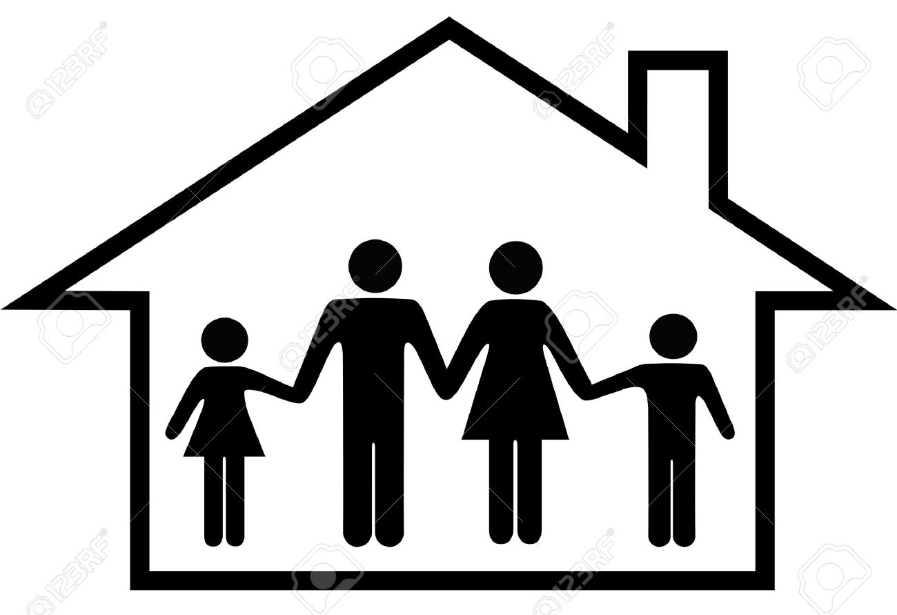 A traditional family mom dad boy girl safe at home in their house. Stock Vector - 4430443