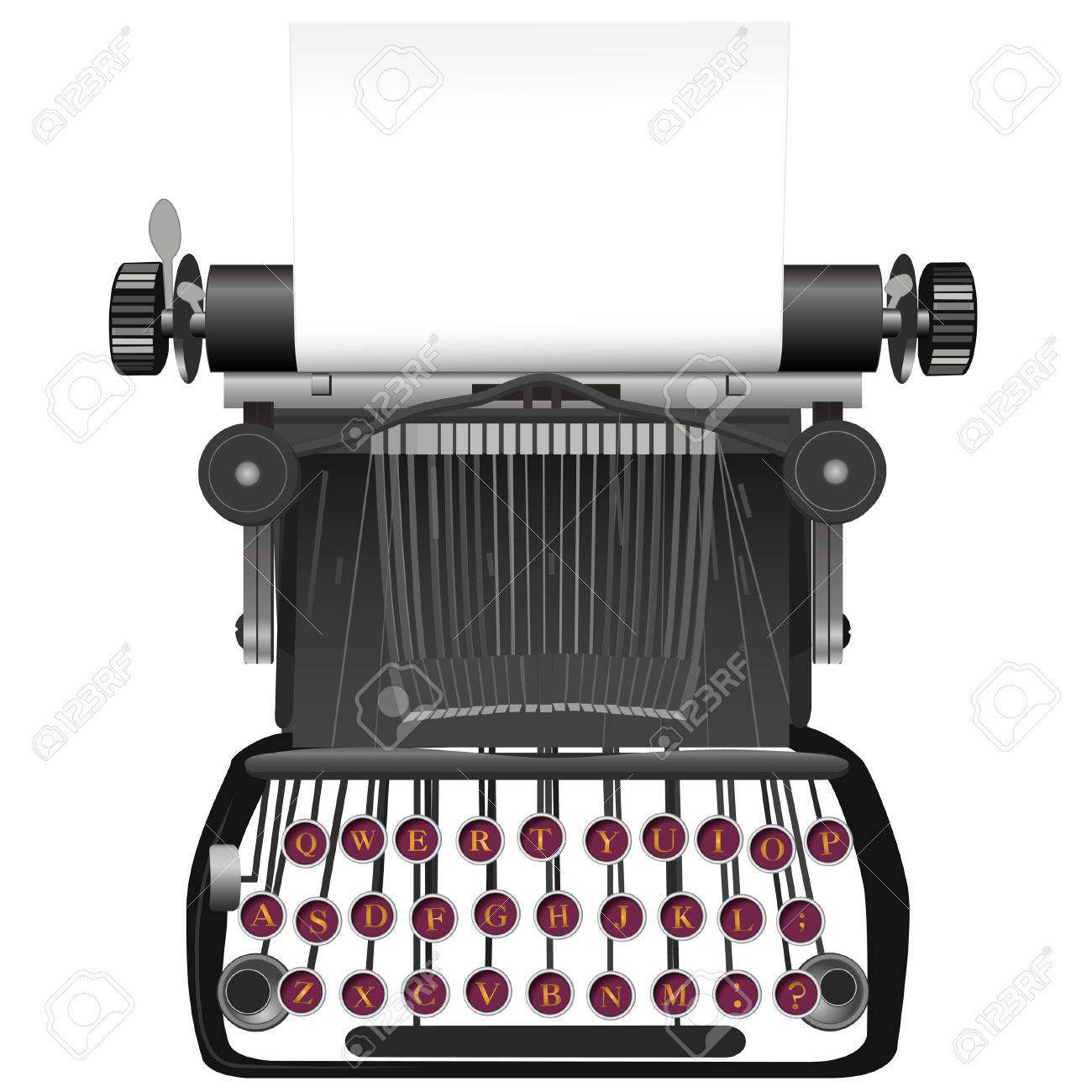 Type your copy on the copyspace paper in this vintage, antique typewriter illustration background. Stock Vector - 5024132