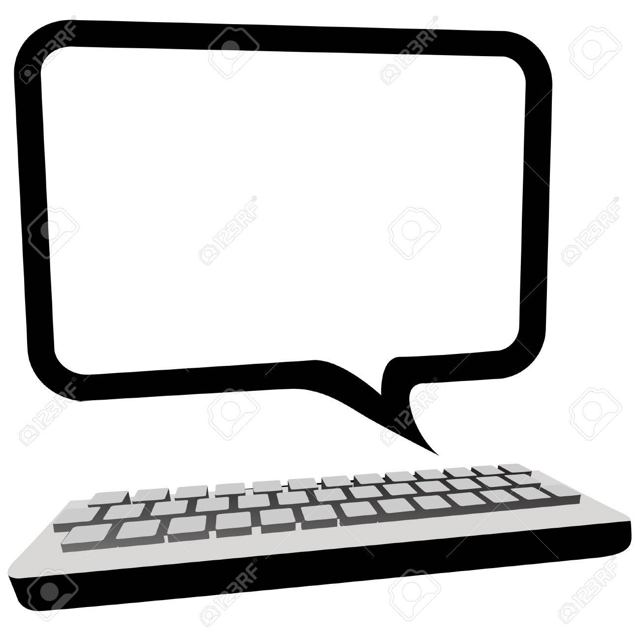 Type blog, email or other text in this speech bubble copyspace as a computer monitor above a keyboard. Stock Vector - 5215083
