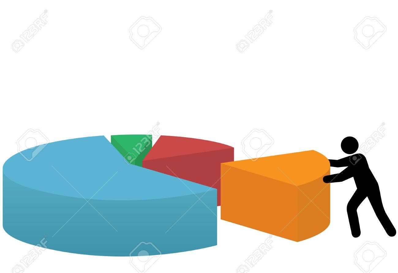 A business person pushes a last piece into place to make a market share pie chart of success. Stock Vector - 5322724