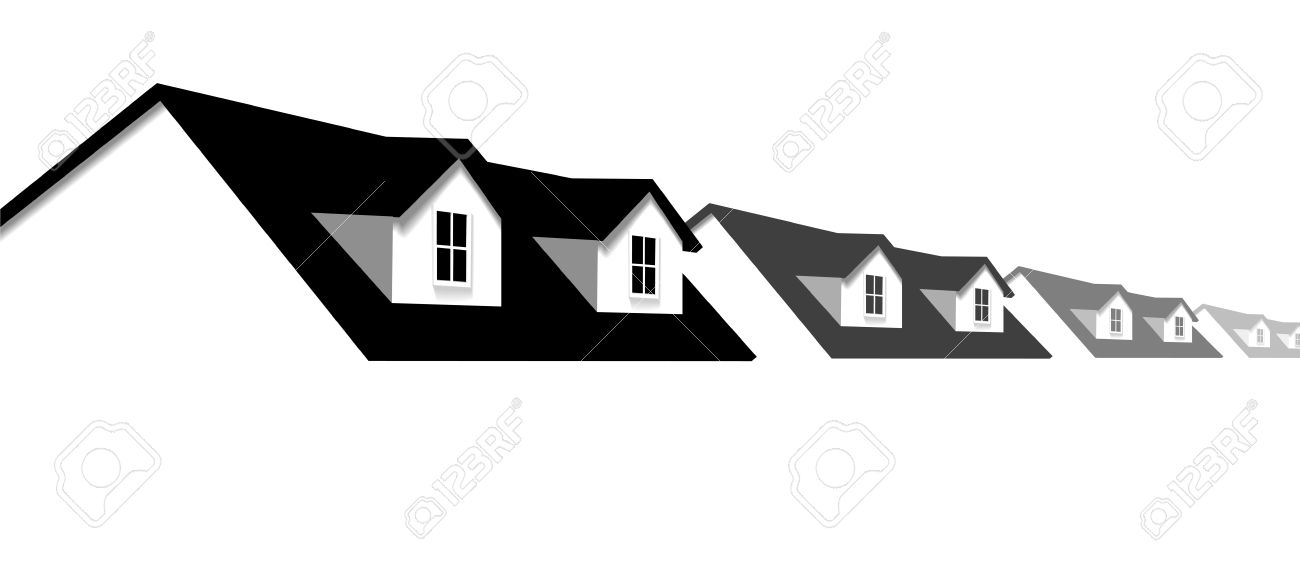House symbol border  A row of homes with 2 dormer windows for