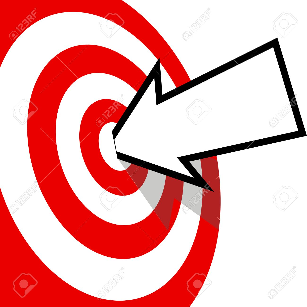 An arrow with your copyspace hits the bulls eye of a red target dead center. Stock Vector - 5571008