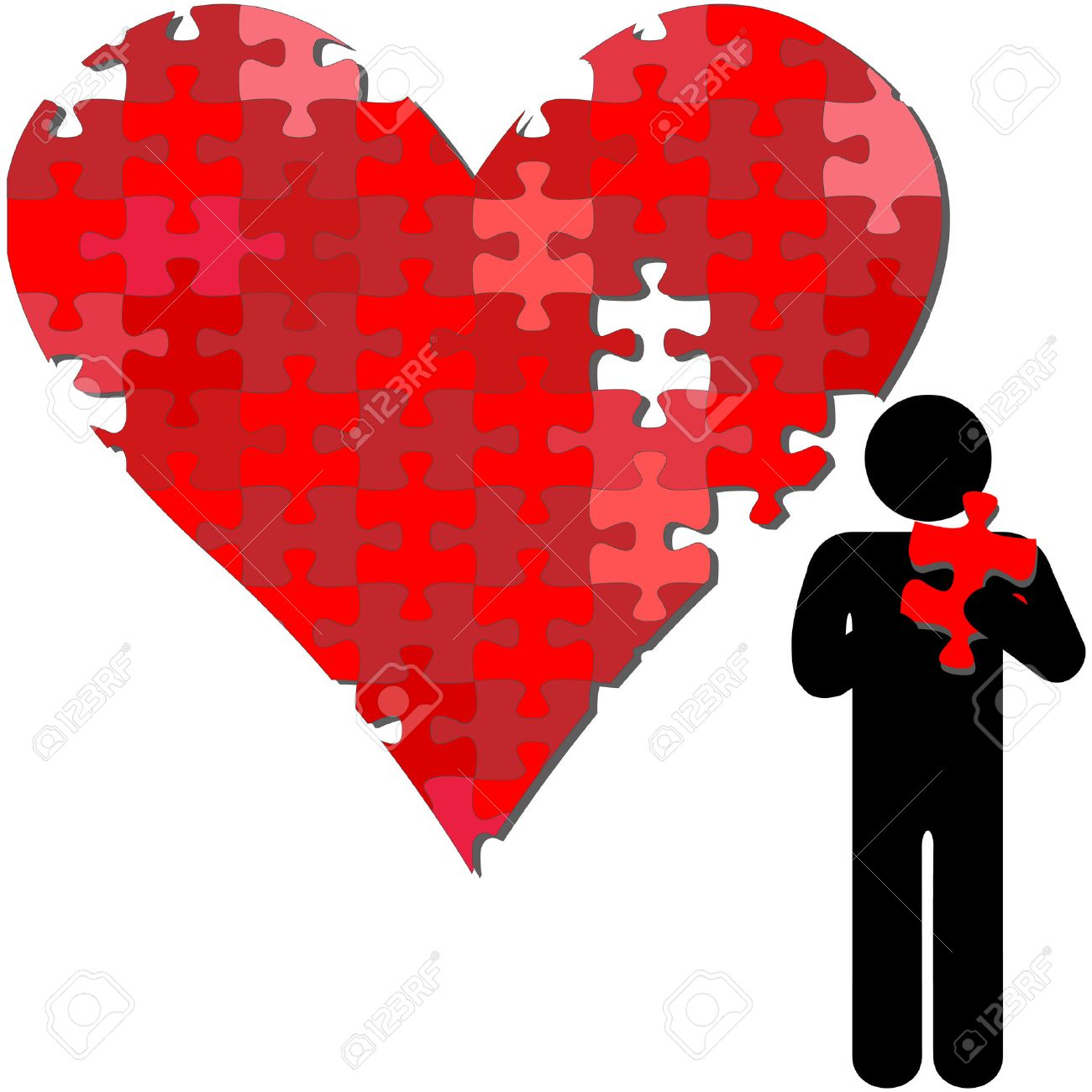 A valentine heart missing a piece held in the arms of a symbol person. Stock Vector - 5571019