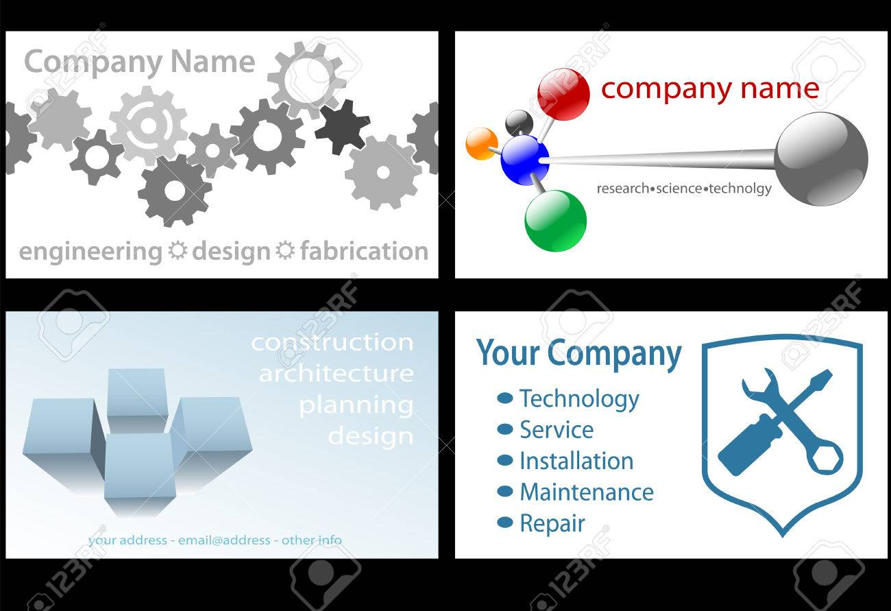 Four technology business designs in standard business card format four technology business designs in standard business card format for design engineering research tech colourmoves