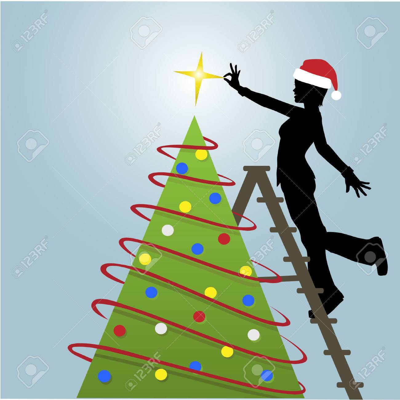 Silhouette woman decorates a Christmas Tree with a star and other decorations. Stock Vector - 5783218