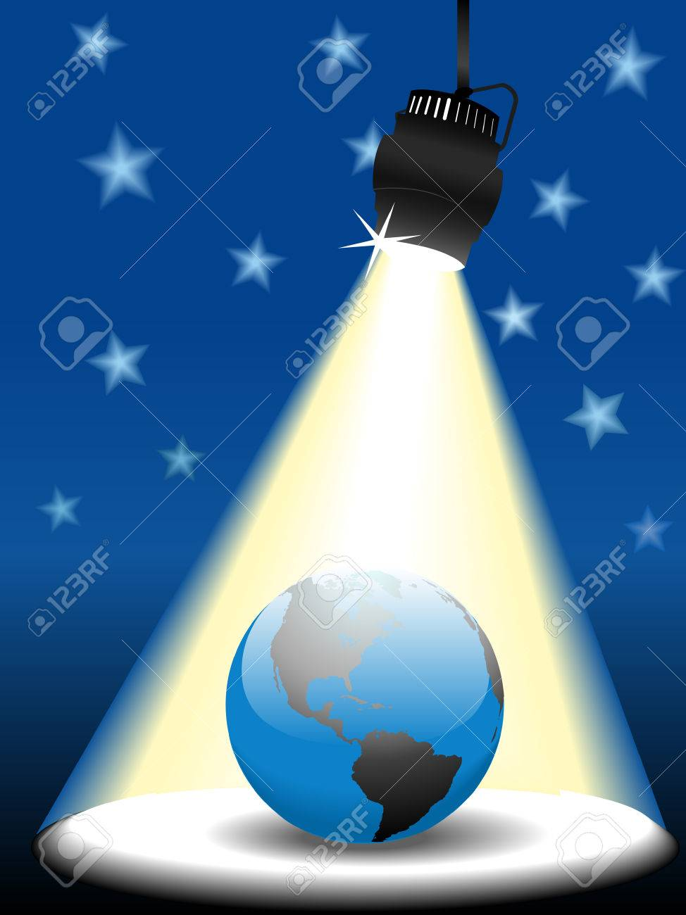 Western Hemisphere of a blue Planet Earth shines in center stage in the spotlight on a sky universe with stars. Stock Vector - 5783225