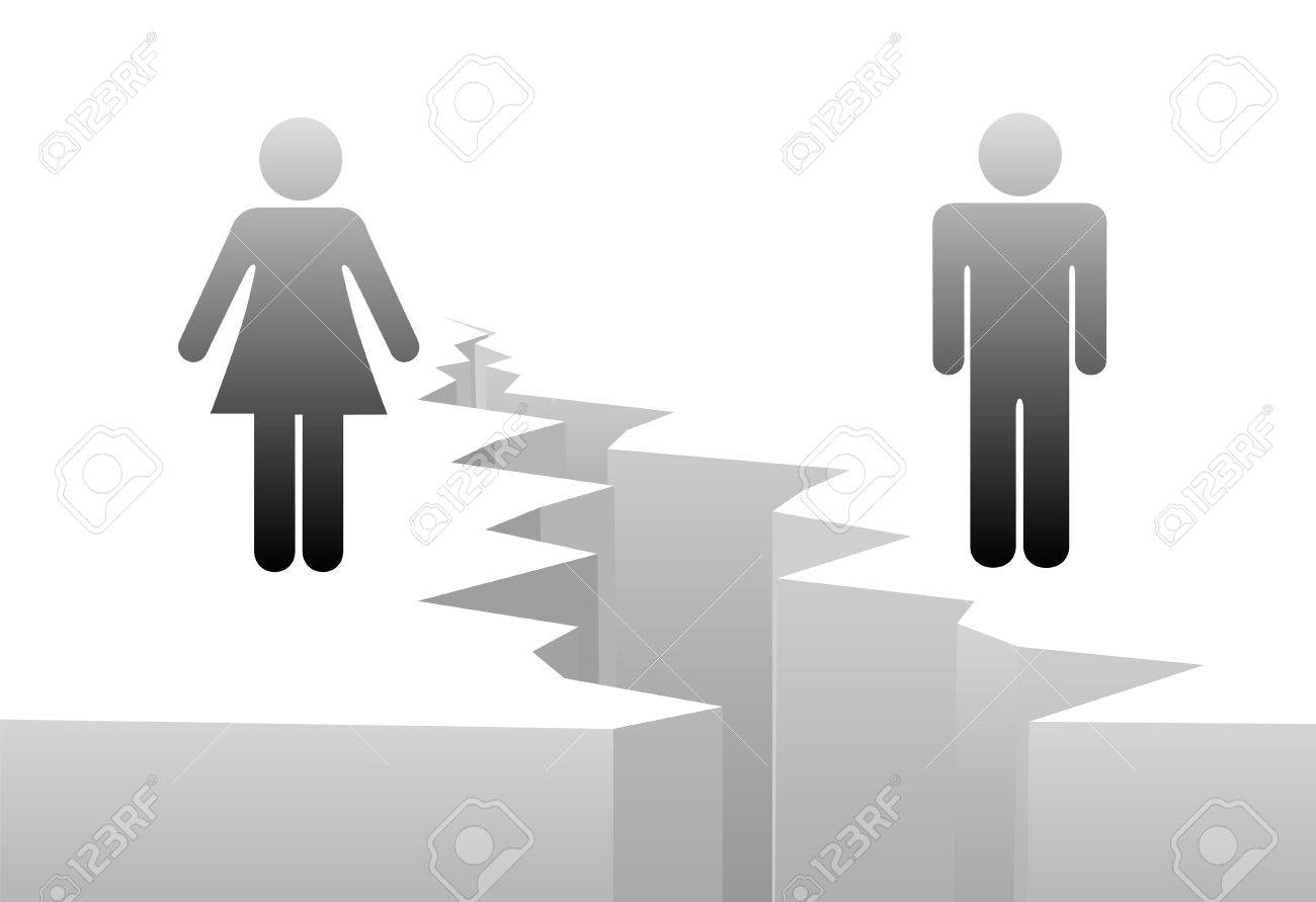 An estranged man and woman are separated by divorce or a gender gap. Stock Vector - 5871813