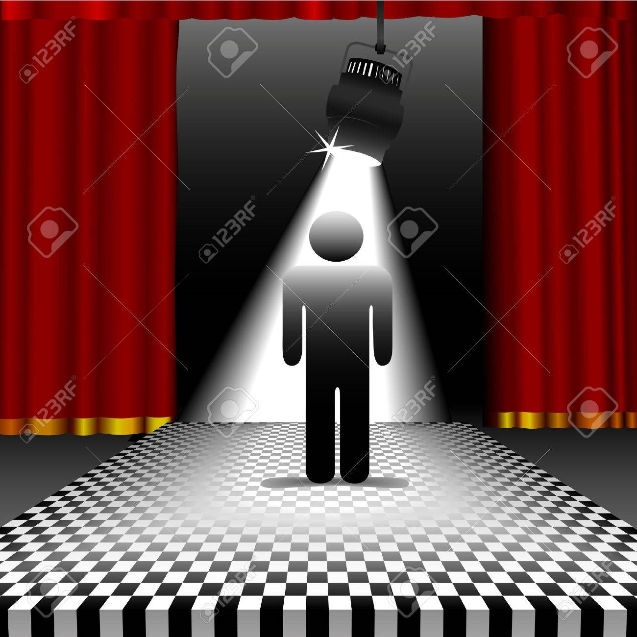 Stage curtains spotlight - A Symbol Person Shines In The Center Of A Checkerboard Stage In The Spotlight With Red